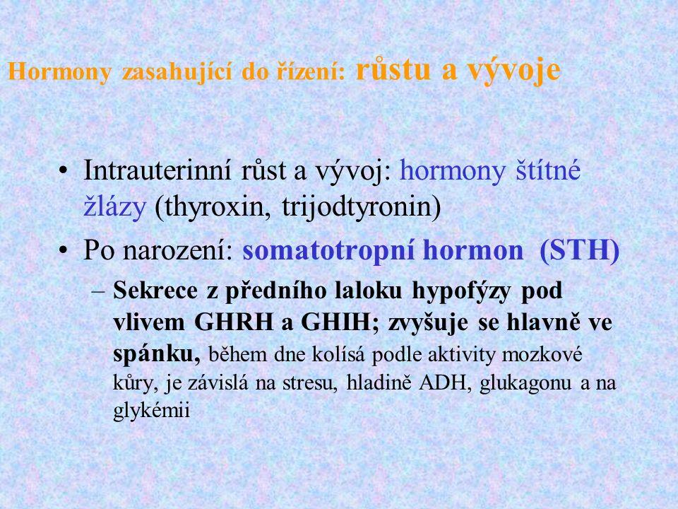 Hormony zasahující do řízení: růstu a vývoje Intrauterinní růst a vývoj: hormony štítné žlázy (thyroxin, trijodtyronin) Po narození: somatotropní horm
