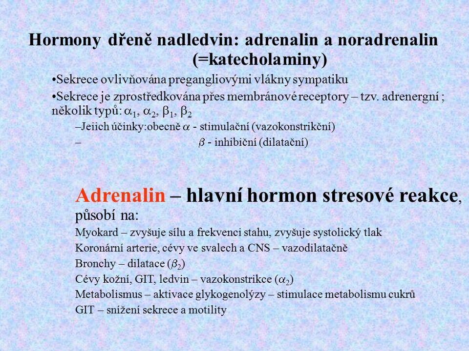 Hormony dřeně nadledvin: adrenalin a noradrenalin (=katecholaminy) Sekrece ovlivňována pregangliovými vlákny sympatiku Sekrece je zprostředkována přes membránové receptory – tzv.