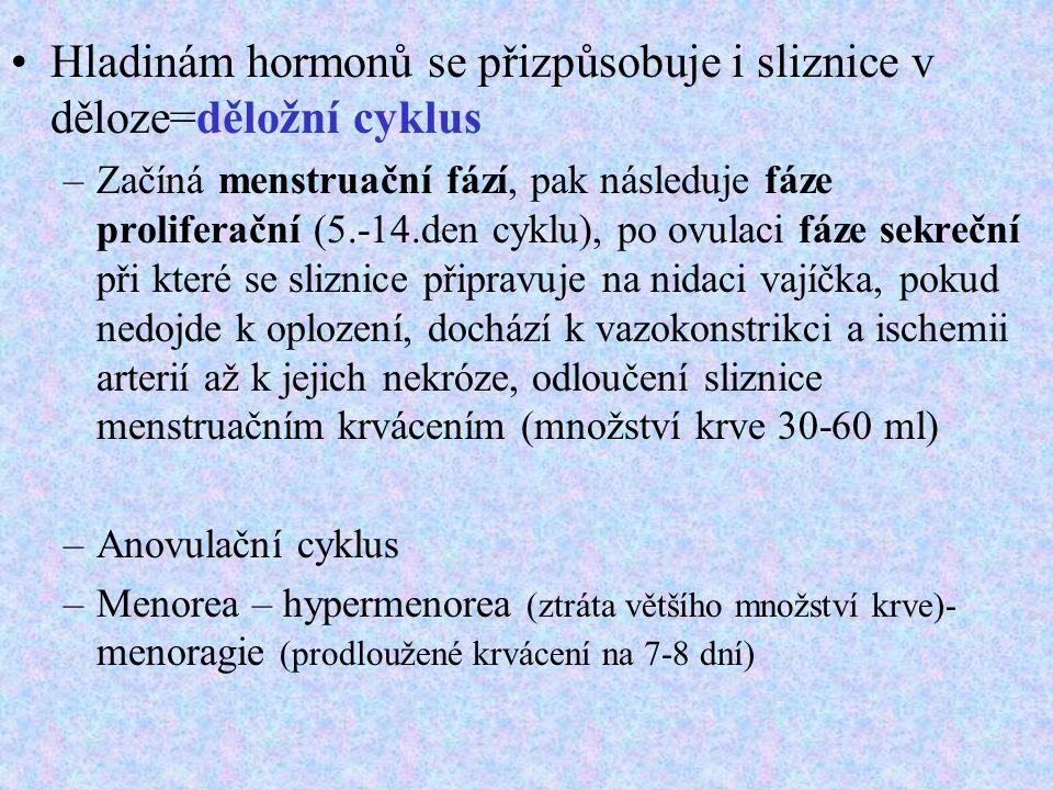 Hladinám hormonů se přizpůsobuje i sliznice v děloze=děložní cyklus –Začíná menstruační fází, pak následuje fáze proliferační (5.-14.den cyklu), po ovulaci fáze sekreční při které se sliznice připravuje na nidaci vajíčka, pokud nedojde k oplození, dochází k vazokonstrikci a ischemii arterií až k jejich nekróze, odloučení sliznice menstruačním krvácením (množství krve 30-60 ml) –Anovulační cyklus –Menorea – hypermenorea (ztráta většího množství krve)- menoragie (prodloužené krvácení na 7-8 dní)