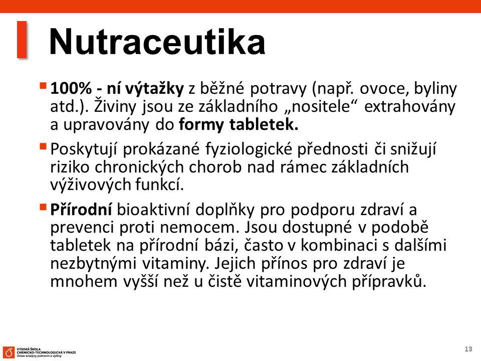 """13 Nutraceutika  100% - ní výtažky z běžné potravy (např. ovoce, byliny atd.). Živiny jsou ze základního """"nositele"""" extrahovány a upravovány do formy"""