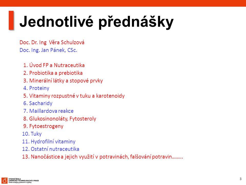 3 Jednotlivé přednášky Doc. Dr. Ing Věra Schulzová Doc. Ing. Jan Pánek, CSc. 1. Úvod FP a Nutraceutika 2. Probiotika a prebiotika 3. Minerální látky a