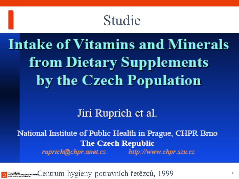 31 Studie Centrum hygieny potravních řetězců, 1999