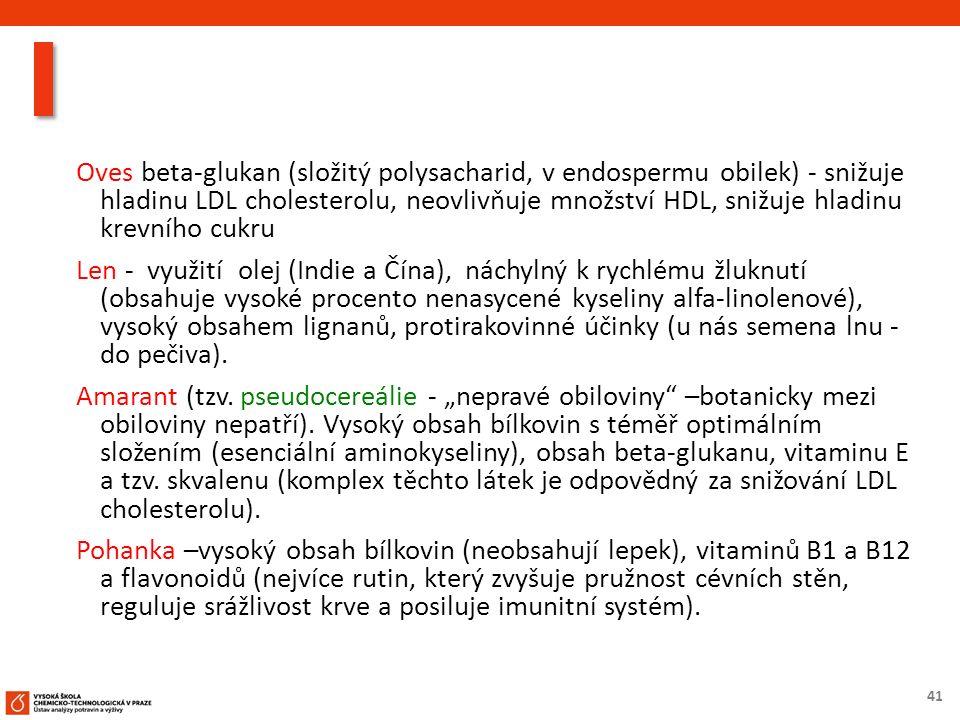 41 Oves beta-glukan (složitý polysacharid, v endospermu obilek) - snižuje hladinu LDL cholesterolu, neovlivňuje množství HDL, snižuje hladinu krevního cukru Len - využití olej (Indie a Čína), náchylný k rychlému žluknutí (obsahuje vysoké procento nenasycené kyseliny alfa-linolenové), vysoký obsahem lignanů, protirakovinné účinky (u nás semena lnu - do pečiva).