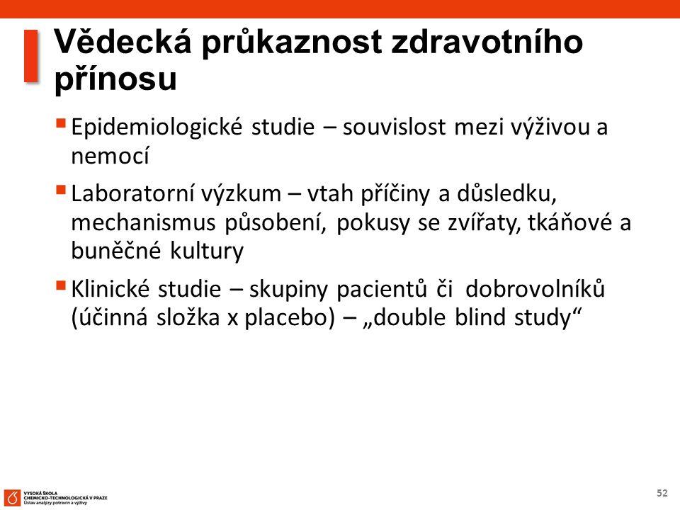 """52 Vědecká průkaznost zdravotního přínosu  Epidemiologické studie – souvislost mezi výživou a nemocí  Laboratorní výzkum – vtah příčiny a důsledku, mechanismus působení, pokusy se zvířaty, tkáňové a buněčné kultury  Klinické studie – skupiny pacientů či dobrovolníků (účinná složka x placebo) – """"double blind study"""