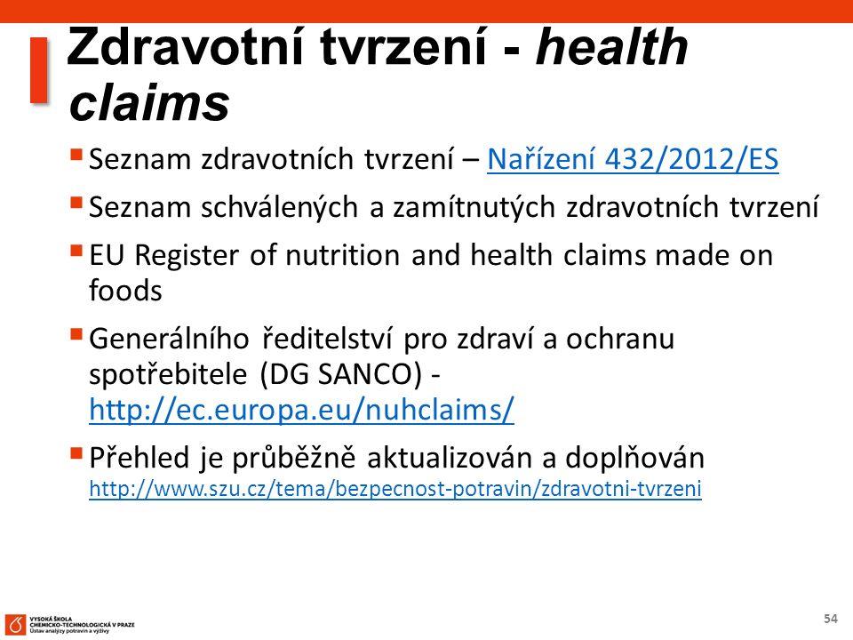 54 Zdravotní tvrzení - health claims  Seznam zdravotních tvrzení – Nařízení 432/2012/ESNařízení 432/2012/ES  Seznam schválených a zamítnutých zdravotních tvrzení  EU Register of nutrition and health claims made on foods  Generálního ředitelství pro zdraví a ochranu spotřebitele (DG SANCO) - http://ec.europa.eu/nuhclaims/ http://ec.europa.eu/nuhclaims/  Přehled je průběžně aktualizován a doplňován http://www.szu.cz/tema/bezpecnost-potravin/zdravotni-tvrzeni http://www.szu.cz/tema/bezpecnost-potravin/zdravotni-tvrzeni