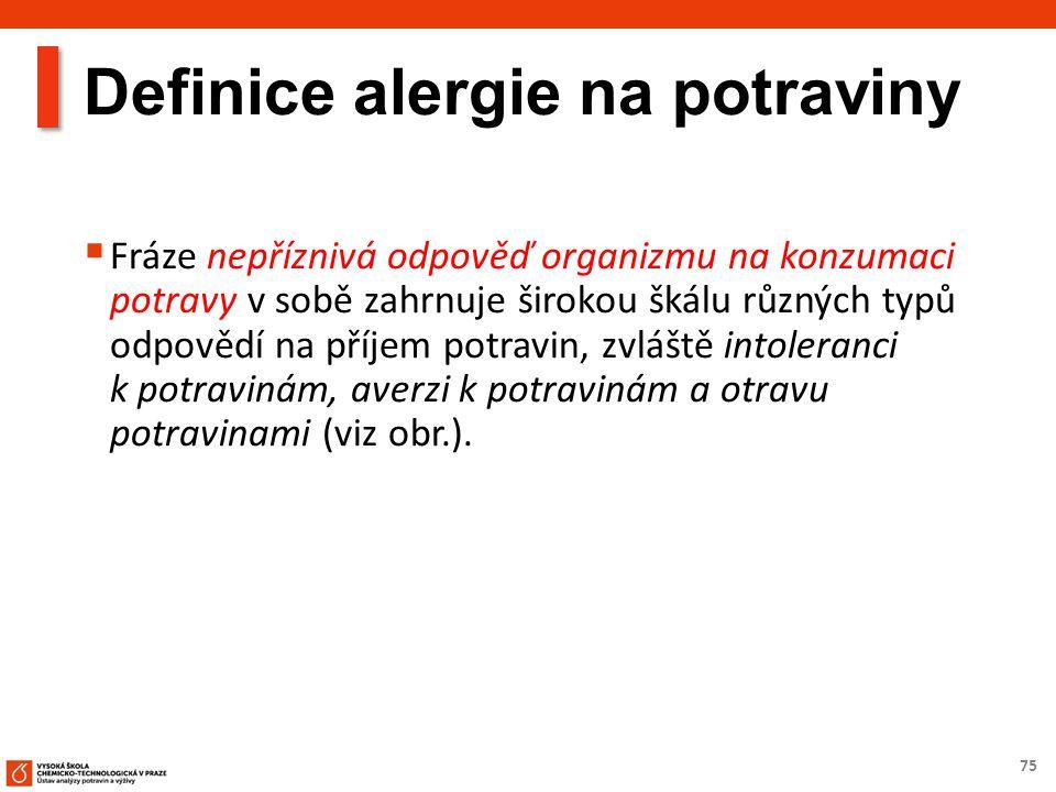 75 Definice alergie na potraviny  Fráze nepříznivá odpověď organizmu na konzumaci potravy v sobě zahrnuje širokou škálu různých typů odpovědí na příjem potravin, zvláště intoleranci k potravinám, averzi k potravinám a otravu potravinami (viz obr.).