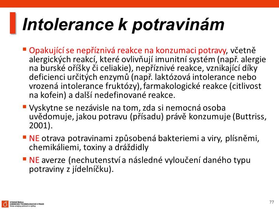 77 Intolerance k potravinám  Opakující se nepříznivá reakce na konzumaci potravy, včetně alergických reakcí, které ovlivňují imunitní systém (např. a