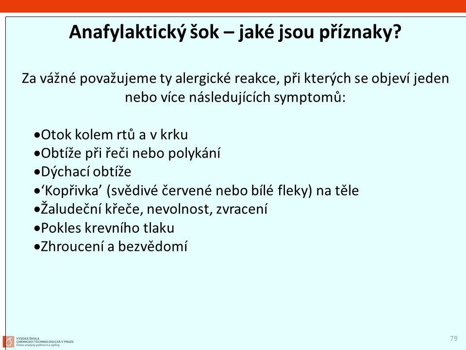 79 Anafylaktický šok – jaké jsou příznaky? Za vážné považujeme ty alergické reakce, při kterých se objeví jeden nebo více následujících symptomů:  Ot