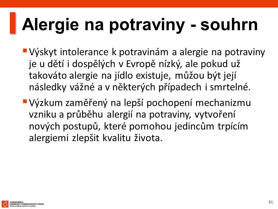 91 Alergie na potraviny - souhrn  Výskyt intolerance k potravinám a alergie na potraviny je u dětí i dospělých v Evropě nízký, ale pokud už takováto