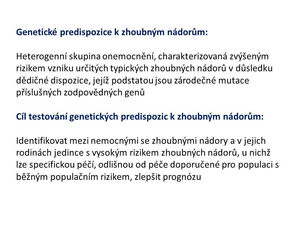 Genetické predispozice k zhoubným nádorům: Heterogenní skupina onemocnění, charakterizovaná zvýšeným rizikem vzniku určitých typických zhoubných nádor