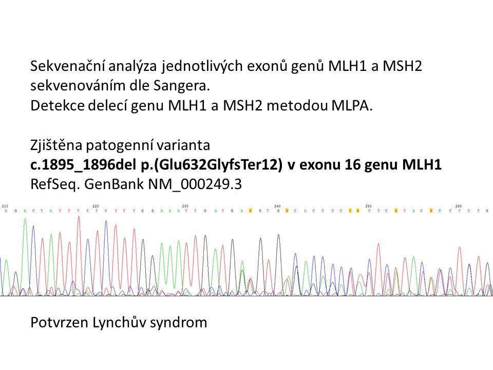 Sekvenační analýza jednotlivých exonů genů MLH1 a MSH2 sekvenováním dle Sangera. Detekce delecí genu MLH1 a MSH2 metodou MLPA. Zjištěna patogenní vari