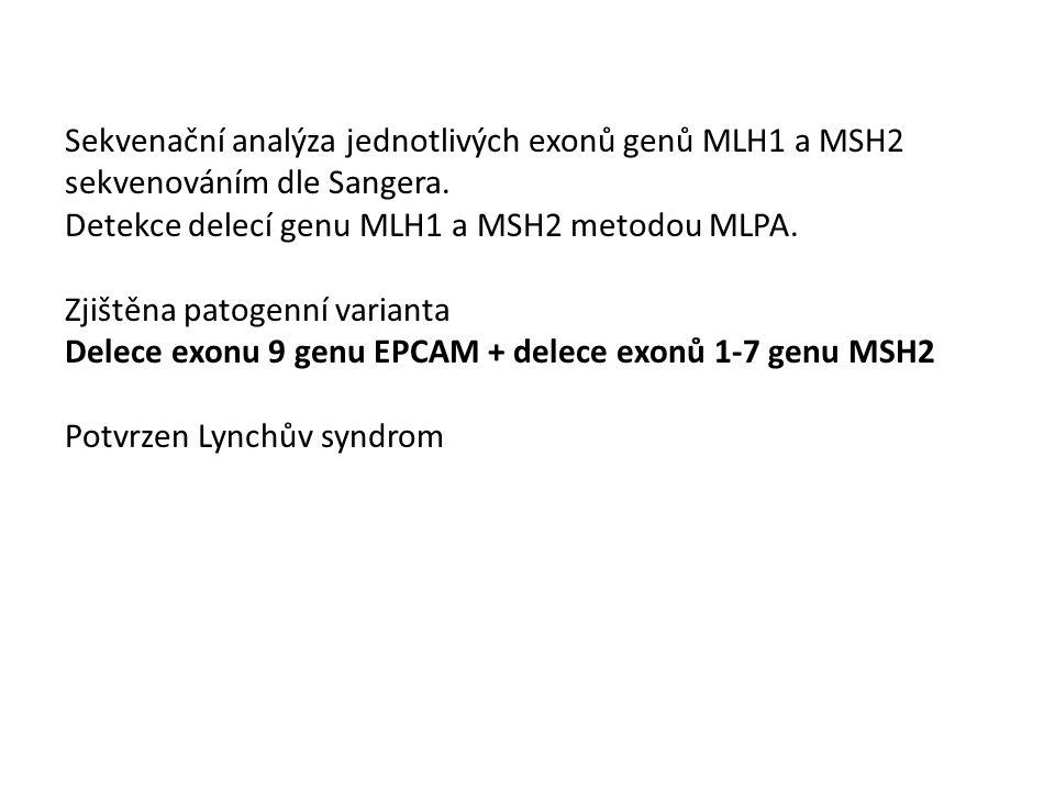 Sekvenační analýza jednotlivých exonů genů MLH1 a MSH2 sekvenováním dle Sangera.