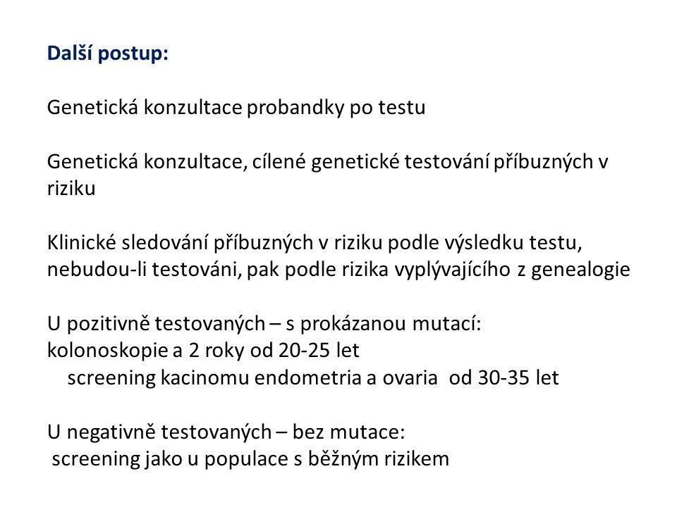Další postup: Genetická konzultace probandky po testu Genetická konzultace, cílené genetické testování příbuzných v riziku Klinické sledování příbuzných v riziku podle výsledku testu, nebudou-li testováni, pak podle rizika vyplývajícího z genealogie U pozitivně testovaných – s prokázanou mutací: kolonoskopie a 2 roky od 20-25 let screening kacinomu endometria a ovaria od 30-35 let U negativně testovaných – bez mutace: screening jako u populace s běžným rizikem