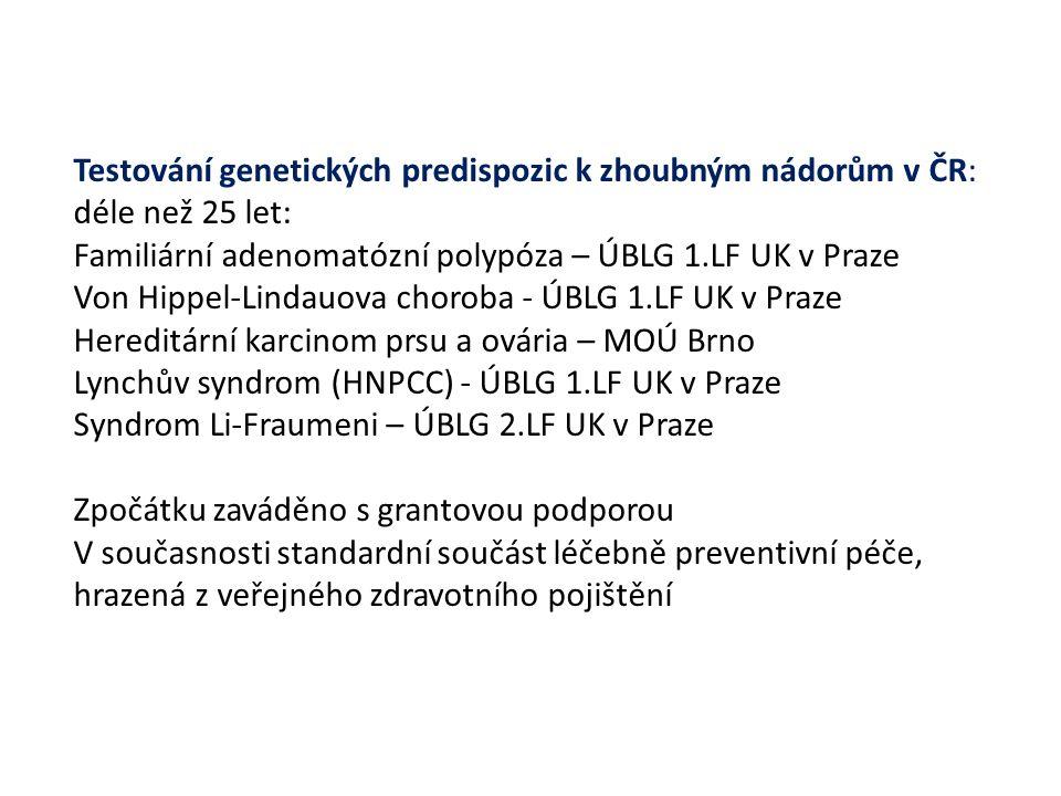 Testování genetických predispozic k zhoubným nádorům v ČR: déle než 25 let: Familiární adenomatózní polypóza – ÚBLG 1.LF UK v Praze Von Hippel-Lindauova choroba - ÚBLG 1.LF UK v Praze Hereditární karcinom prsu a ovária – MOÚ Brno Lynchův syndrom (HNPCC) - ÚBLG 1.LF UK v Praze Syndrom Li-Fraumeni – ÚBLG 2.LF UK v Praze Zpočátku zaváděno s grantovou podporou V současnosti standardní součást léčebně preventivní péče, hrazená z veřejného zdravotního pojištění