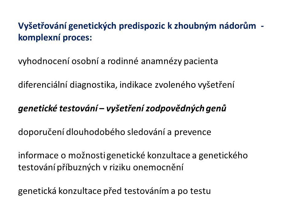 Vyšetřování genetických predispozic k zhoubným nádorům - komplexní proces: vyhodnocení osobní a rodinné anamnézy pacienta diferenciální diagnostika, indikace zvoleného vyšetření genetické testování – vyšetření zodpovědných genů doporučení dlouhodobého sledování a prevence informace o možnosti genetické konzultace a genetického testování příbuzných v riziku onemocnění genetická konzultace před testováním a po testu