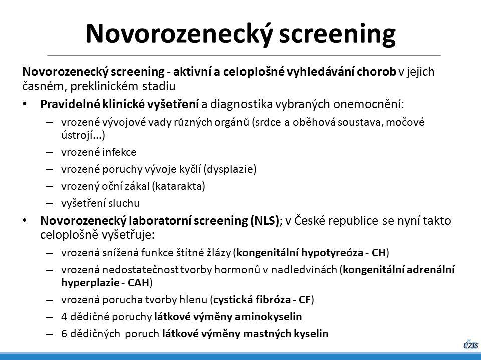 Novorozenecký screening - aktivní a celoplošné vyhledávání chorob v jejich časném, preklinickém stadiu Pravidelné klinické vyšetření a diagnostika vybraných onemocnění: – vrozené vývojové vady různých orgánů (srdce a oběhová soustava, močové ústrojí...) – vrozené infekce – vrozené poruchy vývoje kyčlí (dysplazie) – vrozený oční zákal (katarakta) – vyšetření sluchu Novorozenecký laboratorní screening (NLS); v České republice se nyní takto celoplošně vyšetřuje: – vrozená snížená funkce štítné žlázy (kongenitální hypotyreóza - CH) – vrozená nedostatečnost tvorby hormonů v nadledvinách (kongenitální adrenální hyperplazie - CAH) – vrozená porucha tvorby hlenu (cystická fibróza - CF) – 4 dědičné poruchy látkové výměny aminokyselin – 6 dědičných poruch látkové výměny mastných kyselin Novorozenecký screening