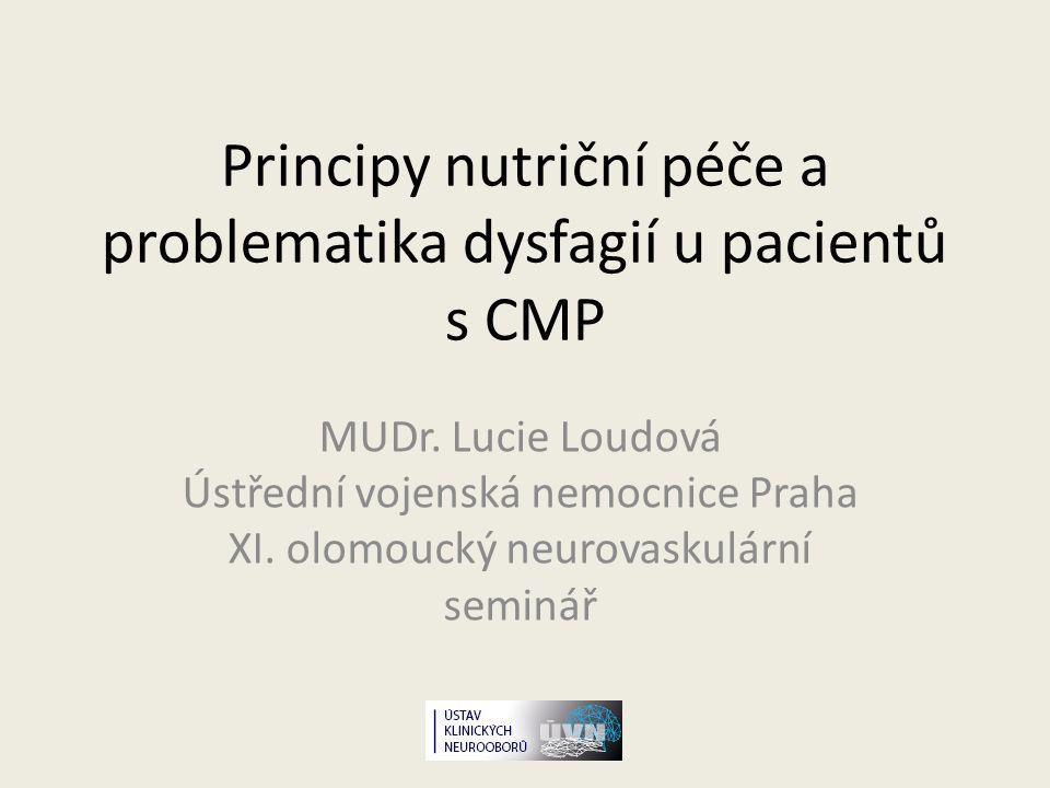 Význam nutriční péče v neurologii Nutrice = základ terapie, bývá však často opomíjena Neurologická onemocnění vedou k přímo či nepřímo k malnutrici Neexistují speciální doporučení zohledňující nutriční nároky pac.