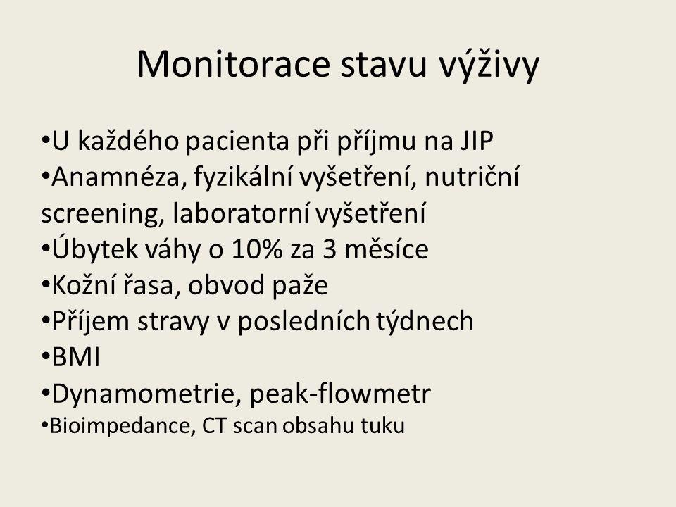 Monitorace stavu výživy U každého pacienta při příjmu na JIP Anamnéza, fyzikální vyšetření, nutriční screening, laboratorní vyšetření Úbytek váhy o 10% za 3 měsíce Kožní řasa, obvod paže Příjem stravy v posledních týdnech BMI Dynamometrie, peak-flowmetr Bioimpedance, CT scan obsahu tuku