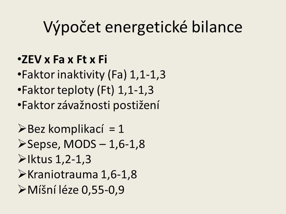 Výpočet energetické bilance ZEV x Fa x Ft x Fi Faktor inaktivity (Fa) 1,1-1,3 Faktor teploty (Ft) 1,1-1,3 Faktor závažnosti postižení  Bez komplikací = 1  Sepse, MODS – 1,6-1,8  Iktus 1,2-1,3  Kraniotrauma 1,6-1,8  Míšní léze 0,55-0,9