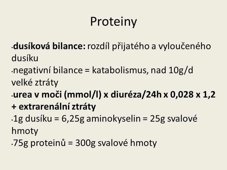 Proteiny dusíková bilance: rozdíl přijatého a vyloučeného dusíku negativní bilance = katabolismus, nad 10g/d velké ztráty urea v moči (mmol/l) x diuréza/24h x 0,028 x 1,2 + extrarenální ztráty 1g dusíku = 6,25g aminokyselin = 25g svalové hmoty 75g proteinů = 300g svalové hmoty