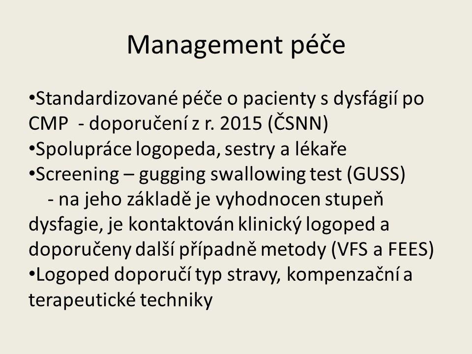Management péče Standardizované péče o pacienty s dysfágií po CMP - doporučení z r. 2015 (ČSNN) Spolupráce logopeda, sestry a lékaře Screening – guggi