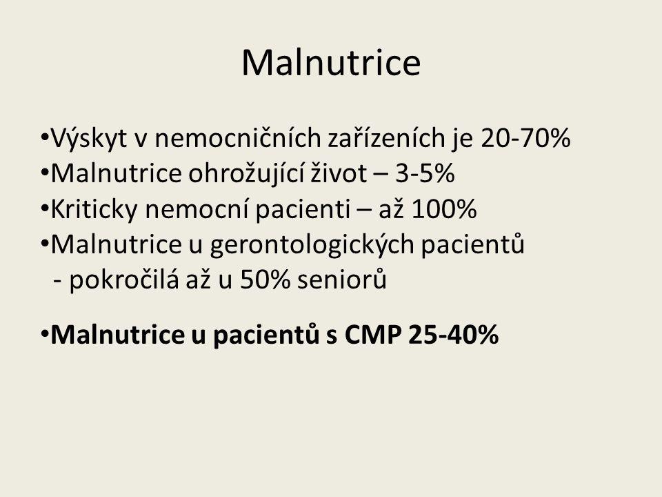Výskyt v nemocničních zařízeních je 20-70% Malnutrice ohrožující život – 3-5% Kriticky nemocní pacienti – až 100% Malnutrice u gerontologických pacientů - pokročilá až u 50% seniorů Malnutrice u pacientů s CMP 25-40%