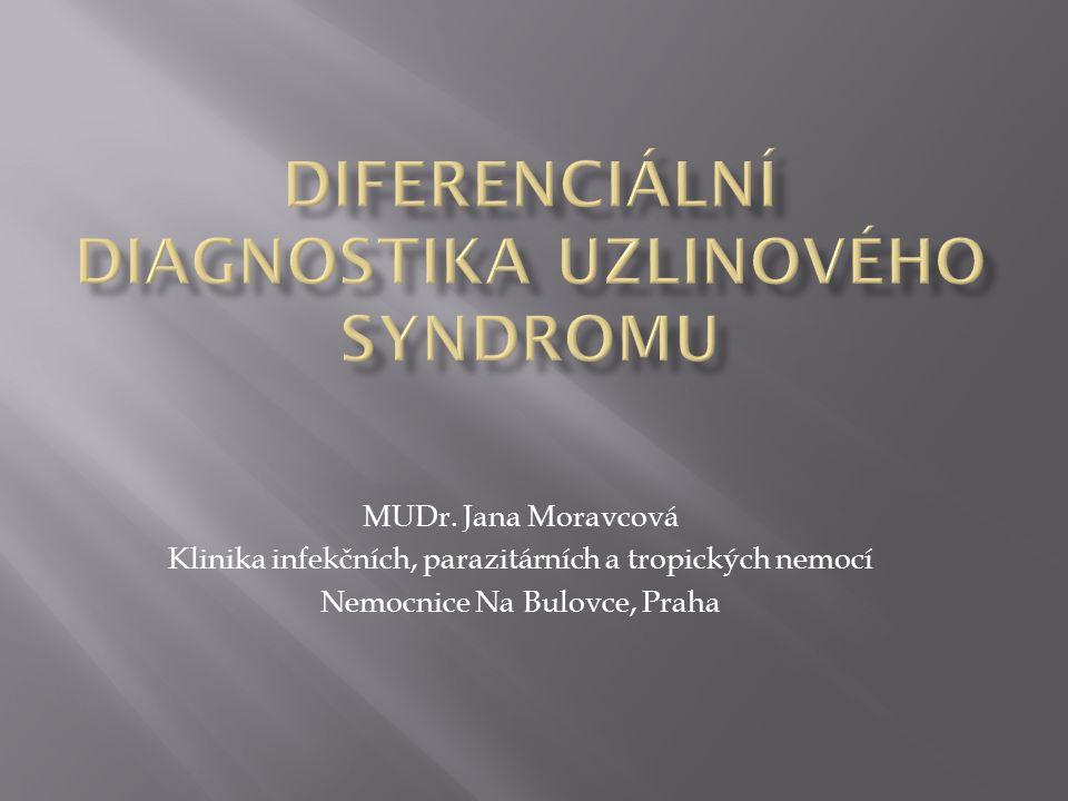  uzlinový syndrom, lymfadenopatie = lokální nebo generalizované zvětšení lymfatických uzlin (LU)  lymfadenitida = zánět lymfatické uzliny