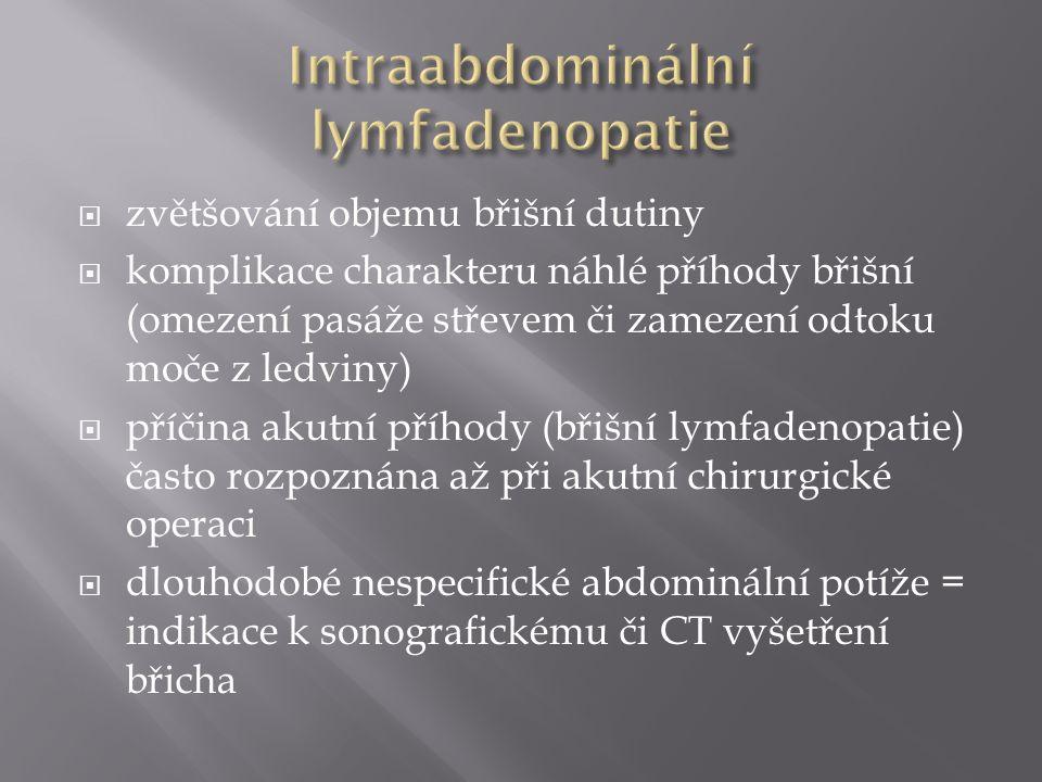  zvětšování objemu břišní dutiny  komplikace charakteru náhlé příhody břišní (omezení pasáže střevem či zamezení odtoku moče z ledviny)  příčina ak
