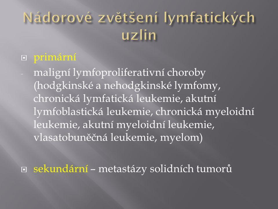 primární - maligní lymfoproliferativní choroby (hodgkinské a nehodgkinské lymfomy, chronická lymfatická leukemie, akutní lymfoblastická leukemie, ch