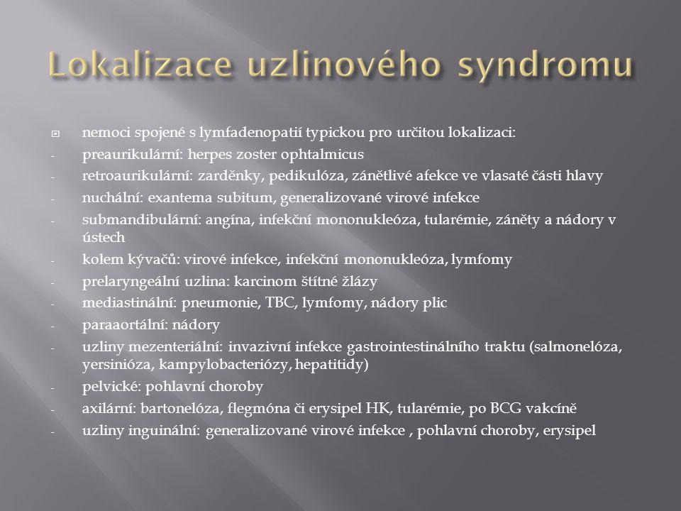  nemoci spojené s lymfadenopatií typickou pro určitou lokalizaci: - preaurikulární: herpes zoster ophtalmicus - retroaurikulární: zarděnky, pedikulóz