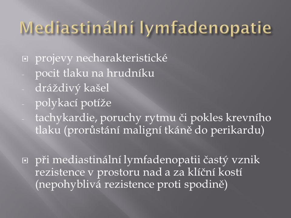  projevy necharakteristické - pocit tlaku na hrudníku - dráždivý kašel - polykací potíže - tachykardie, poruchy rytmu či pokles krevního tlaku (prorů