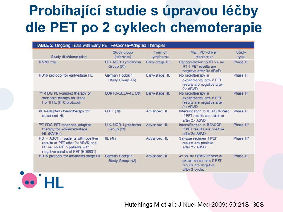 Probíhající studie s úpravou léčby dle PET po 2 cyklech chemoterapie Hutchings M et al.: J Nucl Med 2009; 50:21S–30S