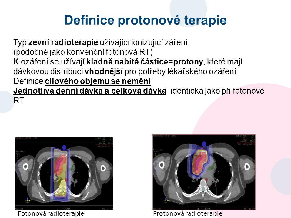 Definice protonové terapie Typ zevní radioterapie užívající ionizující záření (podobně jako konvenční fotonová RT) K ozáření se užívají kladně nabité