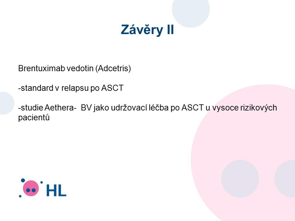 Závěry II Brentuximab vedotin (Adcetris) -standard v relapsu po ASCT -studie Aethera- BV jako udržovací léčba po ASCT u vysoce rizikových pacientů