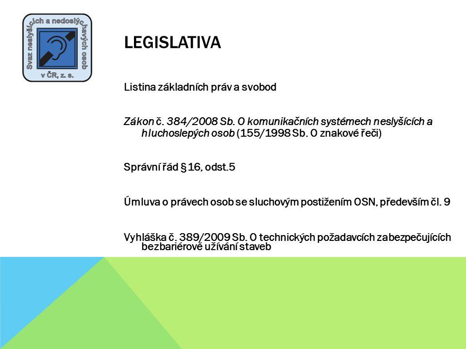 LEGISLATIVA Listina základních práv a svobod Zákon č. 384/2008 Sb. O komunikačních systémech neslyšících a hluchoslepých osob (155/1998 Sb. O znakové