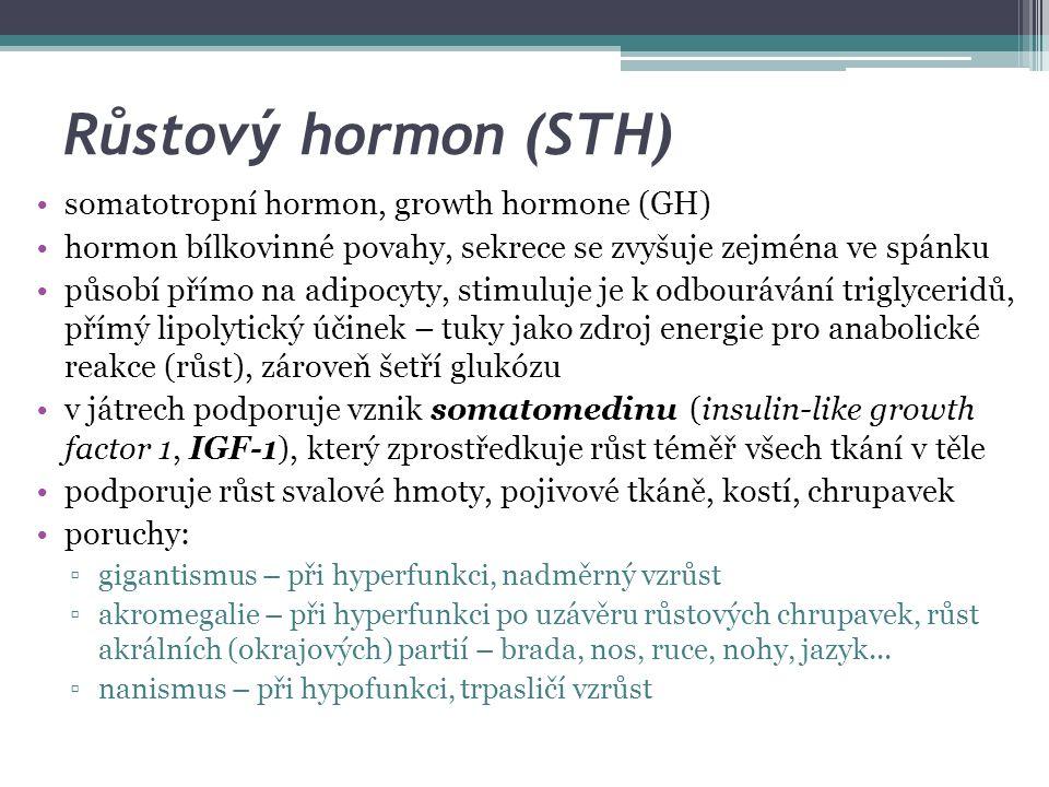 Růstový hormon (STH) somatotropní hormon, growth hormone (GH) hormon bílkovinné povahy, sekrece se zvyšuje zejména ve spánku působí přímo na adipocyty, stimuluje je k odbourávání triglyceridů, přímý lipolytický účinek – tuky jako zdroj energie pro anabolické reakce (růst), zároveň šetří glukózu v játrech podporuje vznik somatomedinu (insulin-like growth factor 1, IGF-1), který zprostředkuje růst téměř všech tkání v těle podporuje růst svalové hmoty, pojivové tkáně, kostí, chrupavek poruchy: ▫gigantismus – při hyperfunkci, nadměrný vzrůst ▫akromegalie – při hyperfunkci po uzávěru růstových chrupavek, růst akrálních (okrajových) partií – brada, nos, ruce, nohy, jazyk...
