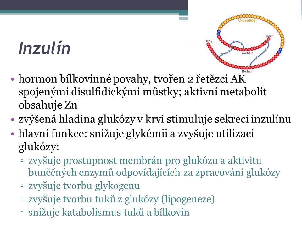 Inzulín hormon bílkovinné povahy, tvořen 2 řetězci AK spojenými disulfidickými můstky; aktivní metabolit obsahuje Zn zvýšená hladina glukózy v krvi stimuluje sekreci inzulínu hlavní funkce: snižuje glykémii a zvyšuje utilizaci glukózy: ▫zvyšuje prostupnost membrán pro glukózu a aktivitu buněčných enzymů odpovídajících za zpracování glukózy ▫zvyšuje tvorbu glykogenu ▫zvyšuje tvorbu tuků z glukózy (lipogeneze) ▫snižuje katabolismus tuků a bílkovin