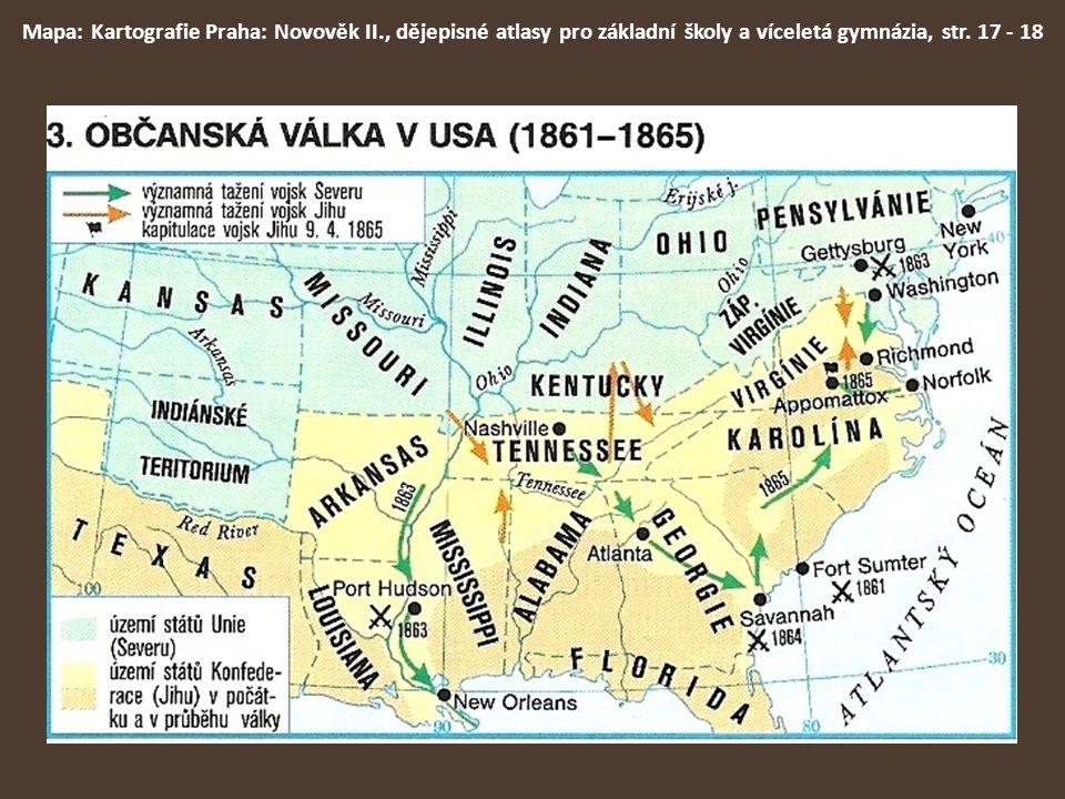 Mapa: Kartografie Praha: Novověk II., dějepisné atlasy pro základní školy a víceletá gymnázia, str. 17 - 18