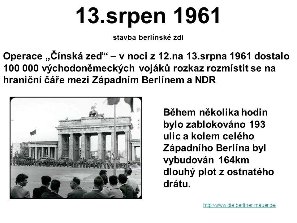 1949 7.9.1949 vznikla ze západních okupačních zón Spolková republika Německo (SRN) kancléřem se stal Konrad Adenauer SRN – demokratický vývoj, hospodářský vzestup, vyšší životní úroveň; spolupráce s USA 7.10.1949 vznikla ze sovětské okupační zóny Německá demokratická republika (NDR) prezidentem se stal Wilhelm Pieck NDR – tvrdší politický režim, zestátňování soukromého hospodářství, kolektivizace zemědělství, omezování lidských práv (nemožnost cestování), nižší životní úroveň než v SRN, silný vliv SSSR http://cs.wikipedia.org/wiki/Berl%C3%ADn_%E2%80%93_rozd%C4%9Blen%C3%A9_m%C4%9Bsto