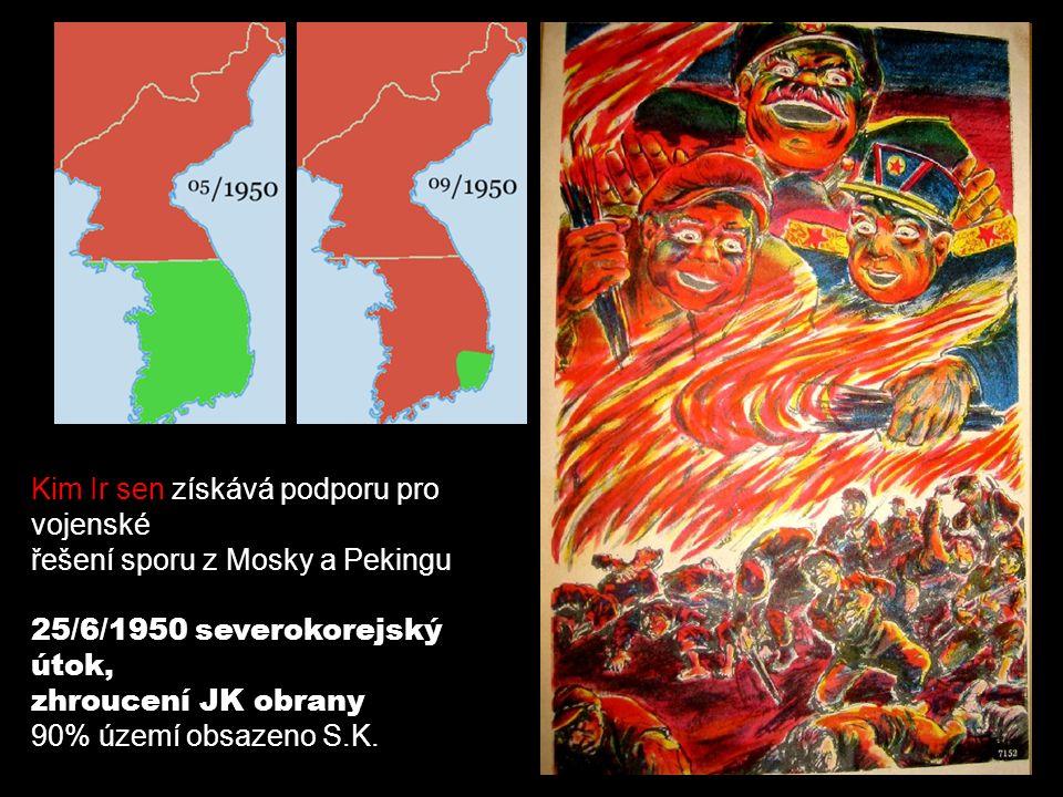 Dálný Východ - v letech 1950-1953 válka v Koreji (komunistická KLDR v čele s Kim Ir- senem se snažila sjednotit zemi pod nadvládou komunistů) - 1953 uzavřeno příměří v Pchanmundžomu (hranice na 38.