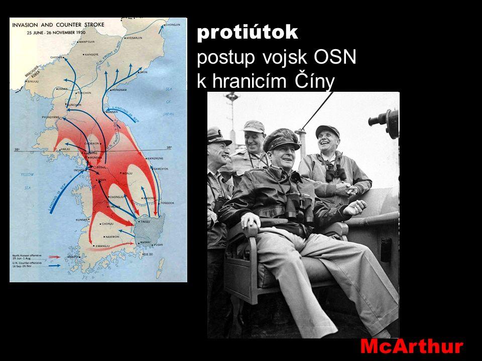 Kim Ir sen získává podporu pro vojenské řešení sporu z Mosky a Pekingu 25/6/1950 severokorejský útok, zhroucení JK obrany 90% území obsazeno S.K.
