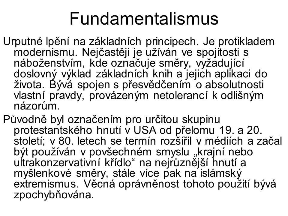 """Feminismus - usiluje o rovnoprávnost žen s muži (politickou, ekonomickou a sociální); biologické a intelektuální rozdíly mezi pohlavími neopravňují muže k nadřazenosti - gender, sociální aspekty pohlaví - britská spisovatelka Mary Wollstonecraft – """"Obrana práv žen (1792) - současný feminismus vychází z francouzské spisovatelky Simone De Beauvoirová − """"Druhé pohlaví (1949); zakladatelky americké Národní organizace pro ženy Betty Friedanové − """"Ženské mystično (1963) nebo americké spisovatelky Kate Milletové − """"Sexuální politika (1969) - volební právo: 1893 − Nový Zéland-první stát, 1971 − Švýcarsko-poslední stát - cílem je šířit osvětu ohledně násilí, potratů, pornografie, mezd, rovných příležitostí, poukazovat na vžité sociální (sexuální) stereotypy liberální – staví ženy na roveň muži, a pokud to není možné, staví muže na roveň ženě; i žena by měla mít možnost se realizovat socialistický – marxistickou terminologií mluví o vykořisťování žen, svých práv mohou dosáhnout pouze svržením současného systému, který je v rukou mužů; kritizují liberální směr za to, že dává možnost se realizovat pouze ženám intelektuálkám; žena z nižších vrstev musí pracovat pro uživení rodiny stejně jako její muž, často k tomu i domácí práce"""