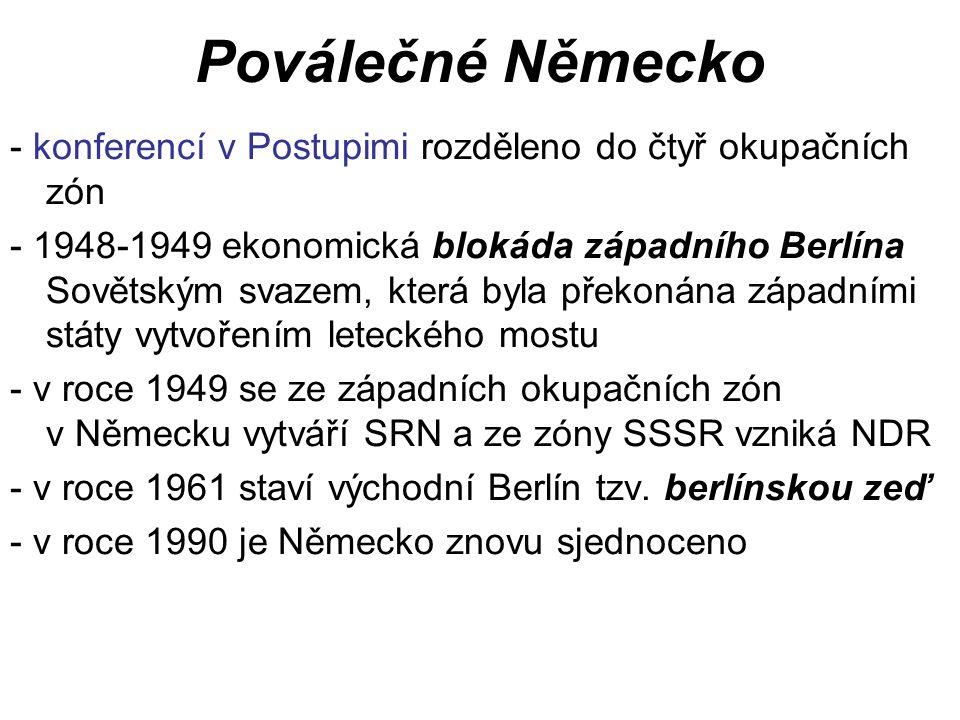 Povstání v komunistických zemích - první povstání v roce 1953 v NDR - potlačeno - v roce 1956 na XX.