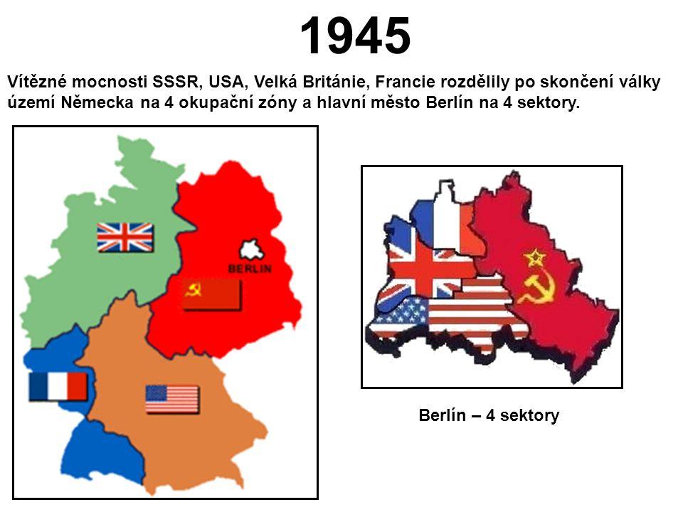 Poválečné Německo - konferencí v Postupimi rozděleno do čtyř okupačních zón - 1948-1949 ekonomická blokáda západního Berlína Sovětským svazem, která byla překonána západními státy vytvořením leteckého mostu - v roce 1949 se ze západních okupačních zón v Německu vytváří SRN a ze zóny SSSR vzniká NDR - v roce 1961 staví východní Berlín tzv.