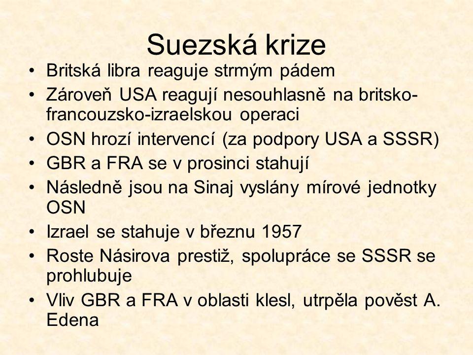 Suezská krize Britská libra reaguje strmým pádem Zároveň USA reagují nesouhlasně na britsko- francouzsko-izraelskou operaci OSN hrozí intervencí (za podpory USA a SSSR) GBR a FRA se v prosinci stahují Následně jsou na Sinaj vyslány mírové jednotky OSN Izrael se stahuje v březnu 1957 Roste Násirova prestiž, spolupráce se SSSR se prohlubuje Vliv GBR a FRA v oblasti klesl, utrpěla pověst A.