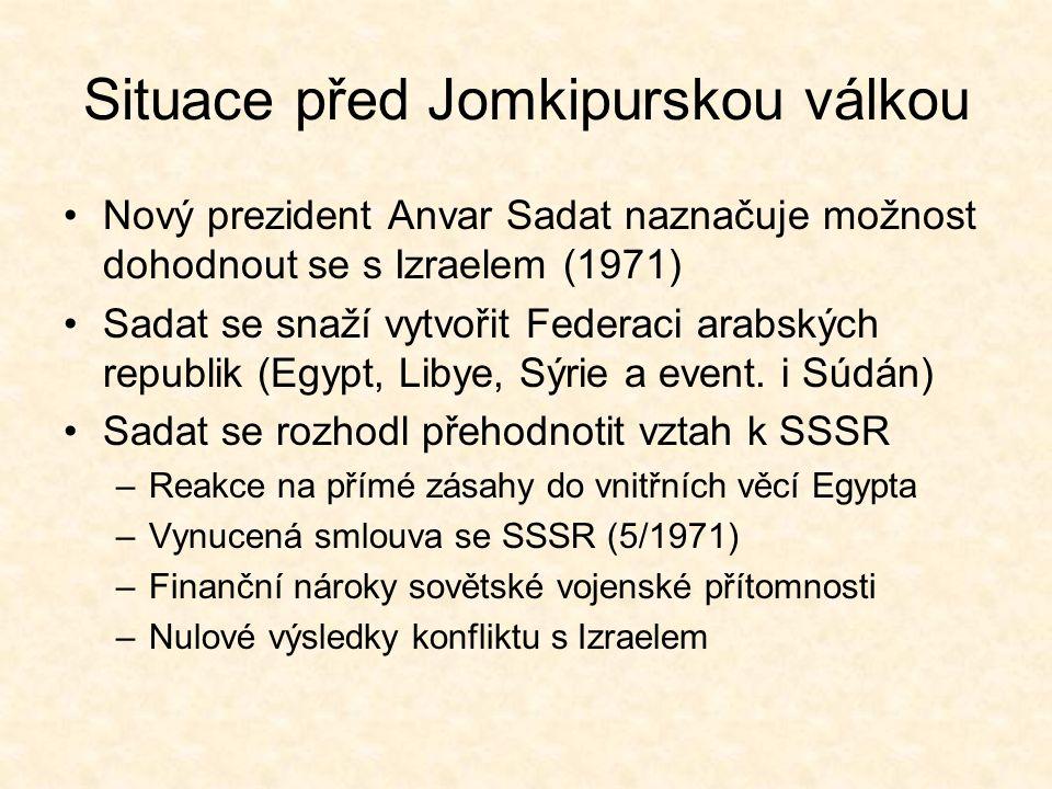 Situace před Jomkipurskou válkou Nový prezident Anvar Sadat naznačuje možnost dohodnout se s Izraelem (1971) Sadat se snaží vytvořit Federaci arabských republik (Egypt, Libye, Sýrie a event.