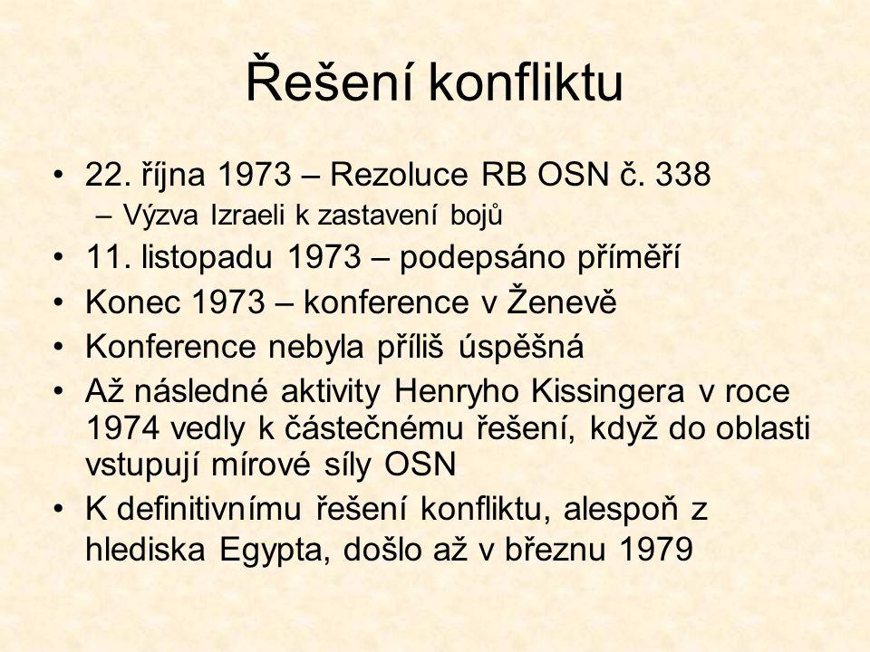Řešení konfliktu 22. října 1973 – Rezoluce RB OSN č.