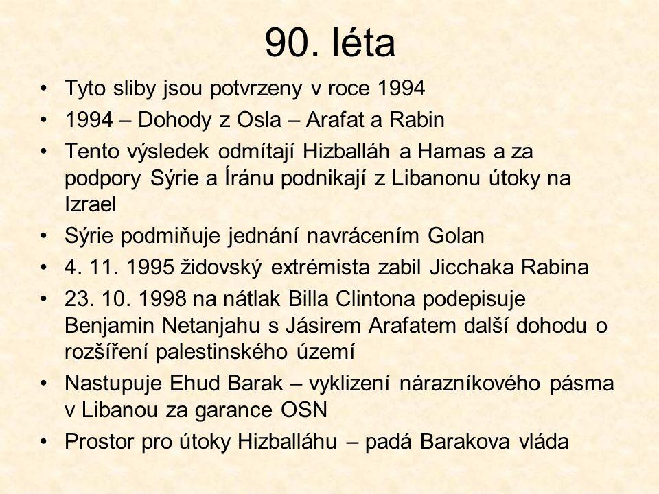 90. léta Tyto sliby jsou potvrzeny v roce 1994 1994 – Dohody z Osla – Arafat a Rabin Tento výsledek odmítají Hizballáh a Hamas a za podpory Sýrie a Ír
