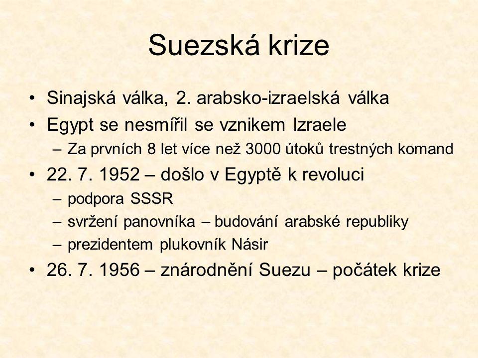 Situace před Jomkipurskou válkou Celé období provázela snaha OSN vypořádat se s výsledky šestidenní války Izrael se na jaře 1970 dostal do izolace, proto začínají intenzivnější jednání Nakonec je připravena dohoda, kterou akceptuje i Izrael Dohoda je následně zmařena –SSSR nechává posunout raketové základny k Suezu –V září 1970 umírá egyptský prezident Násir –V Jordánsku vypukla občanská válka (palestinští Arabové za pomoci Sýrie chtějí krále Husajna donutit znovu válčit)