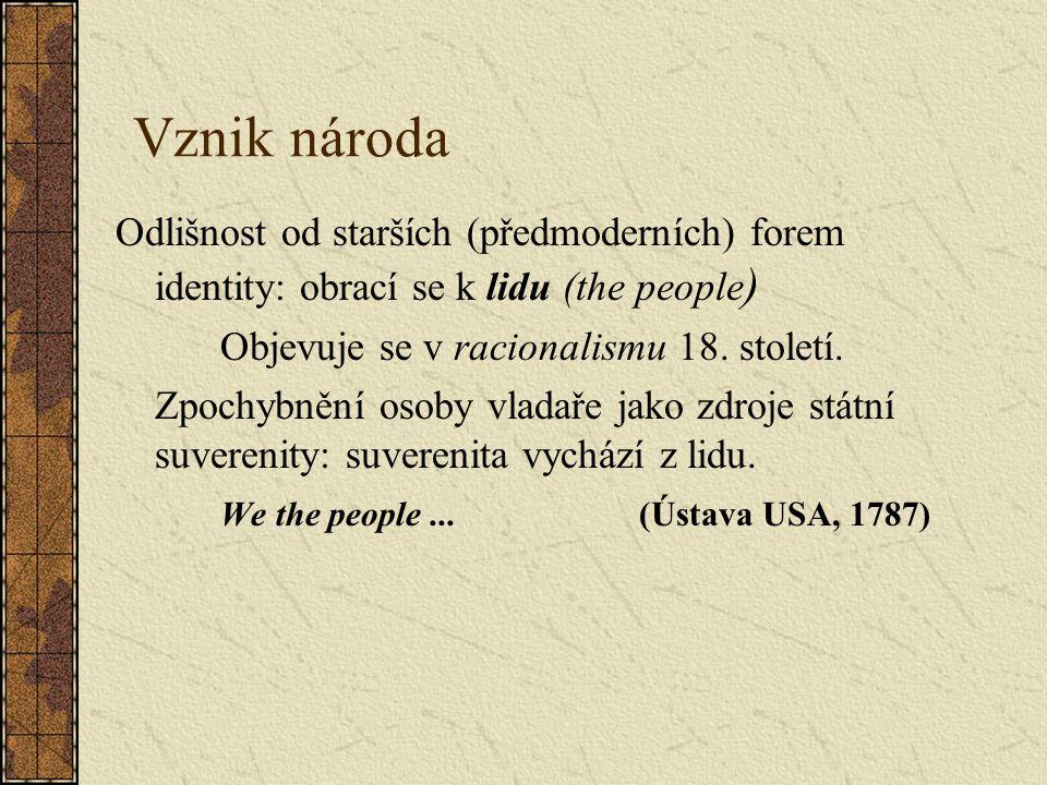 Vznik národa Odlišnost od starších (předmoderních) forem identity: obrací se k lidu (the people ) Objevuje se v racionalismu 18.